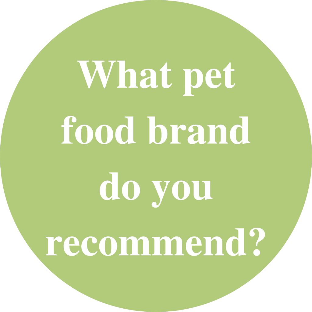 "Green circle with white text inside saying: ""What pet food brand do you recommend?"""