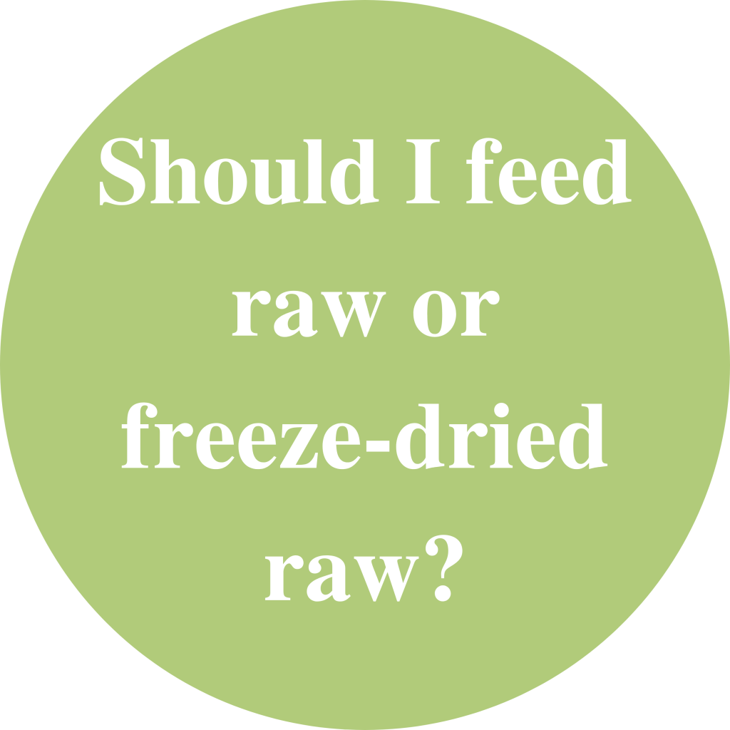 "Green circle with white text inside saying: ""Should I feed raw or freeze-dried raw?"""