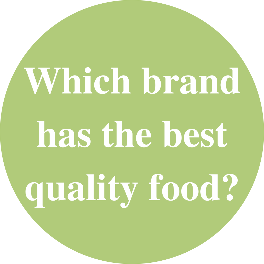 "Green circle with white text inside saying: ""Which brand has the best quality food?"""