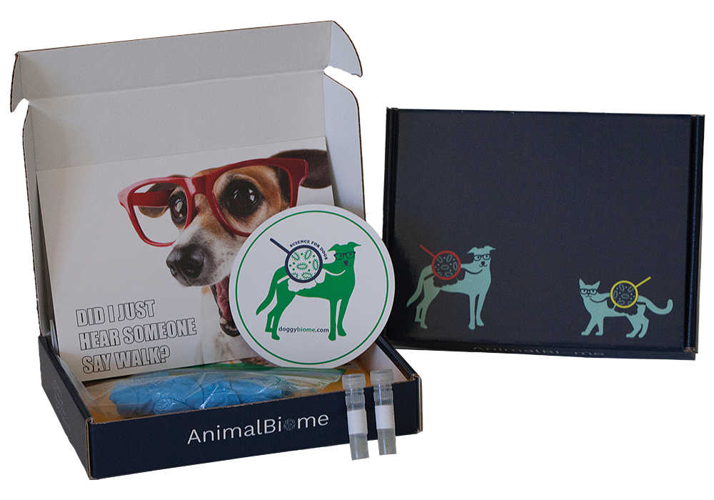 An example of a dog test stool analysis kit from Animal Biome